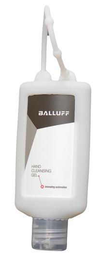 Handreinigungsgel antibakteriell in Kosmetikflasche mit Schlaufe